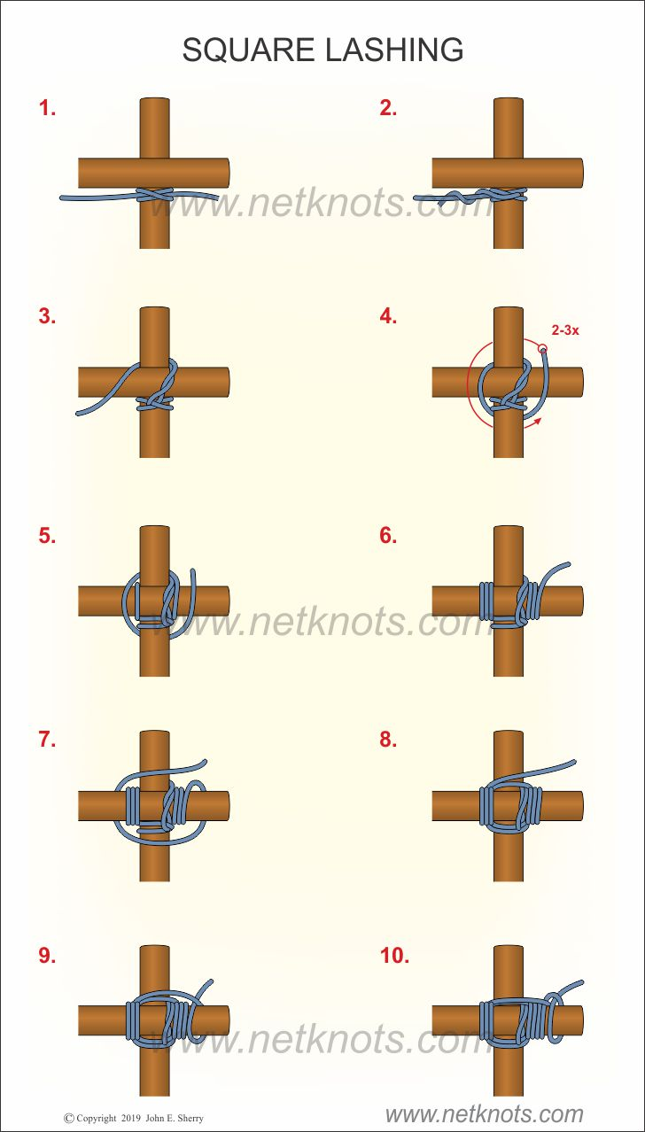 How to tie square lashing