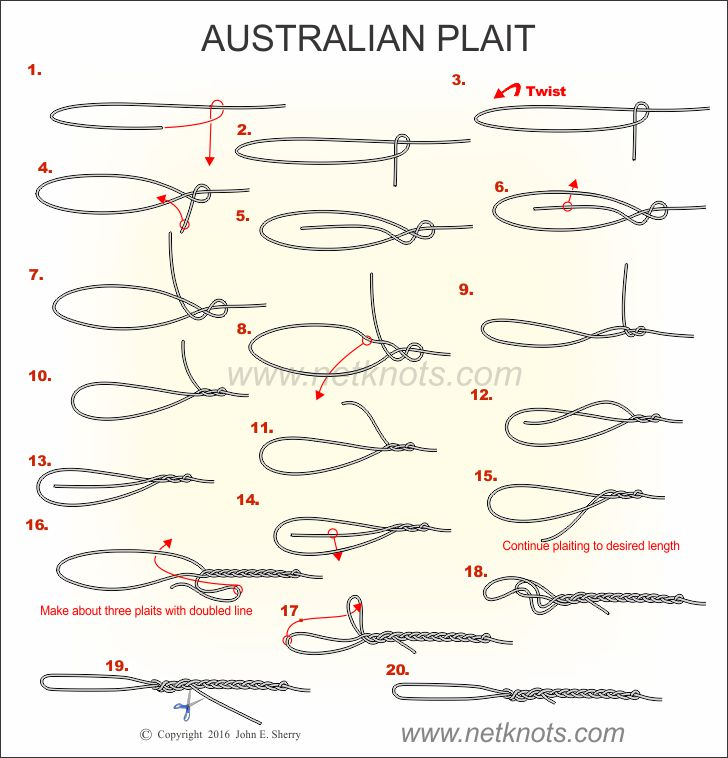 How to tie the australian plait animated illustrated and for Fishing knots for braided line