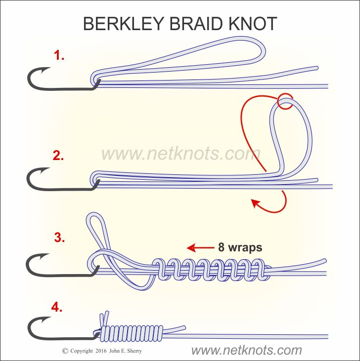 Brekley braid knot how to tie the berkley braid knot for Tying fishing line to reel