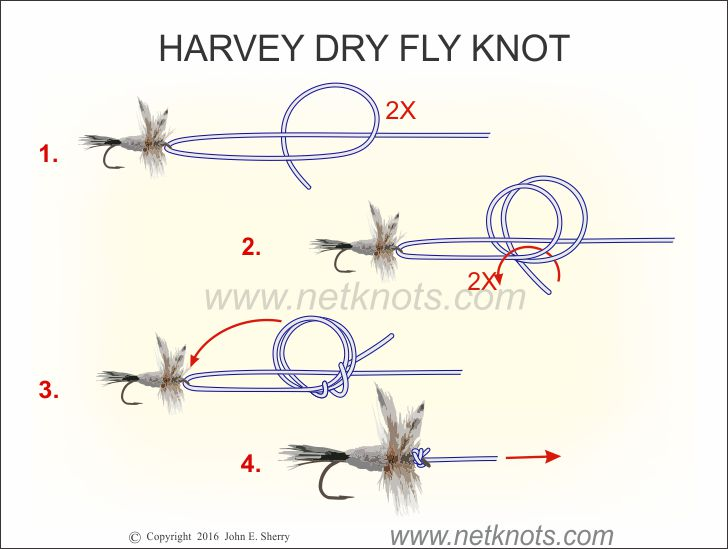 Harvey dry fly knot how to tie the george harvey dry fly for How to tie fishing line together