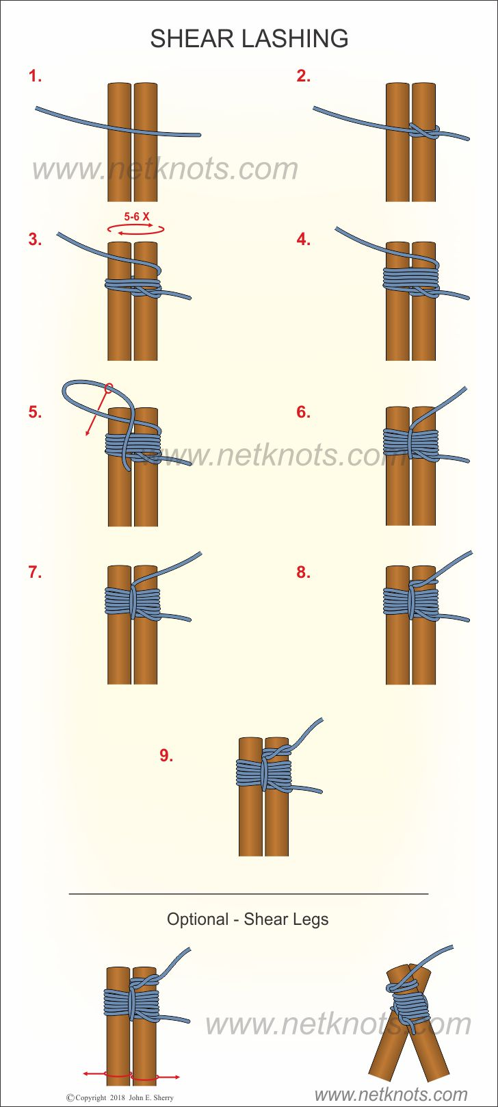 shear lashing tying instructions