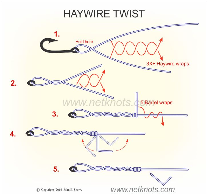 How to tie the haywire twist animated illustrated and for Fishing swivel knot